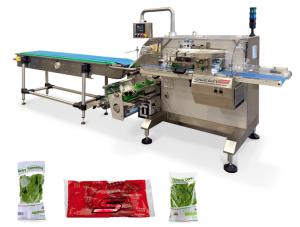 Sleek inverted servo driven flow wrapping machine