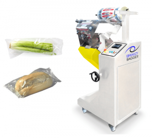 Breezy Bagger wrapping machine with example produce wrapped.