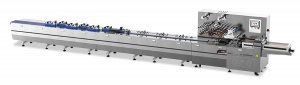 Highspeed flow wrapper with automatic aligning for manufacturing