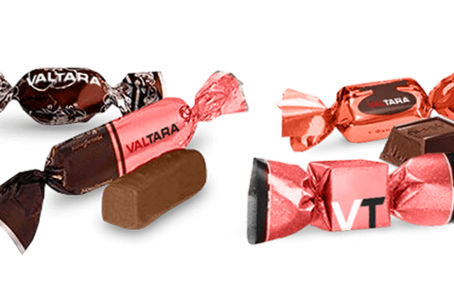 ValTara sleek DTA double twist flow wrapper candy wrapped end product.